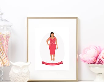 Printable Custom Fashion Illustrations - Television Show Print Poster - The Mindy Project - Mindy Lahiri - Mindy Kaling - Instant Download