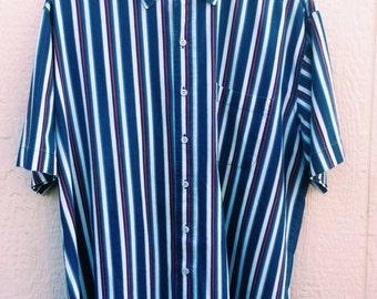 90's Nautical Striped Button Down Shirt
