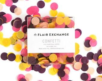 Hand-Cut Confetti - Bargello : Golden Yellow, Azalea, Wine, Peach, Circle Confetti, Round Confetti, Party Decorations, Fall, Thanksgiving