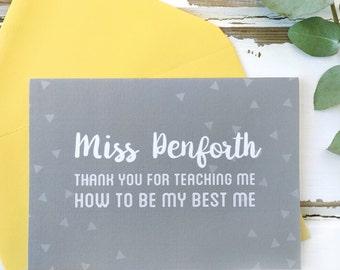 Teacher Card - Personalised Thank You For Teaching Me Teacher Card - Thank You Teacher Card - End Of Term Card - Personalised Card