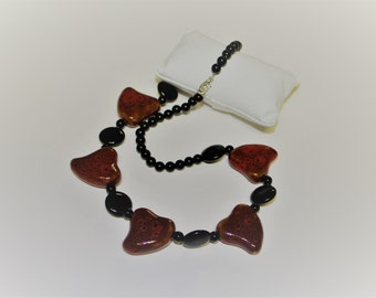 Red cermic hearts and blacked beaded necklace