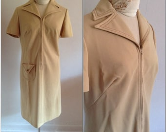 1960s Shirt Dress Vintage Tan Collared Dress // medium, large 10 12 sixties brown shift groovy large collar