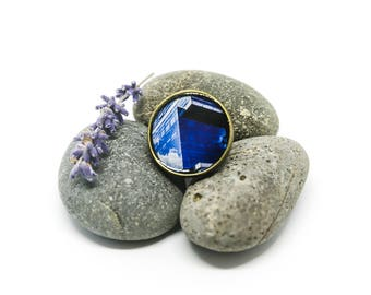 Architecture inspired ring - Quatum Tower Bogota - Blue