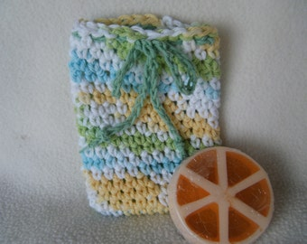 Crocheted Drawstring Soap Saver Pouch/Bag in Spring Colors