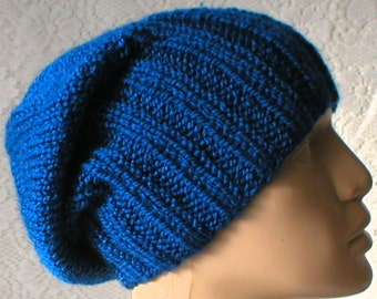 Royal blue watch cap, slouchy hat, brimmed beanie, blue hat, mens womens knit hat, toque, blue knit hat, winter hat, chemo cap, ski hiking