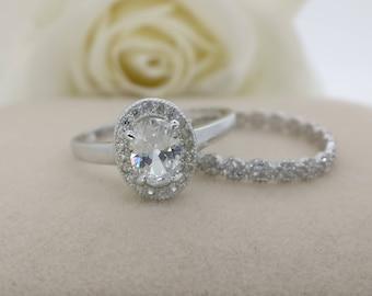 Forever One Oval Moissanite Engagement ring set, Diamond alternative ring, Bridal set