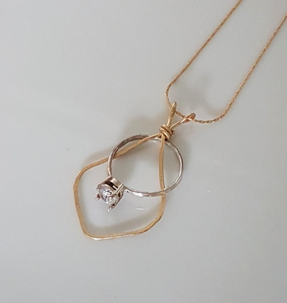 Wedding ring holder necklace ring keeper necklace gold