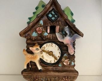 Vintage Ceramic Cuckoo Clock Wall Pocket/Baby Deer and Bird/Bank/Vintage Bank/Cuckoo Clock