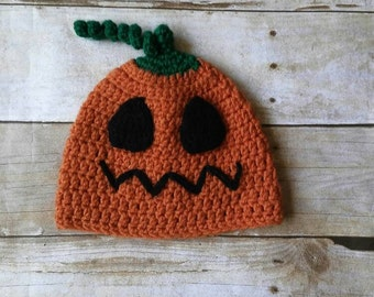 Jack O Lantern hat - pumpkin hat - pumpkin costume - Halloween costume - halloween hat - pumpkin beanie - scary pumpkin - pumpkin photo prop