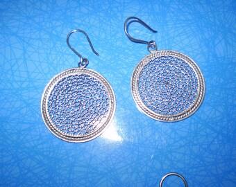 Filigree Silver Earrings, Lace Silver Earrings.RE74