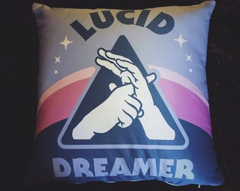 "Lucid Dreamer Pillow - 18""x 18"" Square - Have More Lucid Dreams! Metaphysical Home Decor Bedroom Accessory for Dreaming and Astral Traveling"