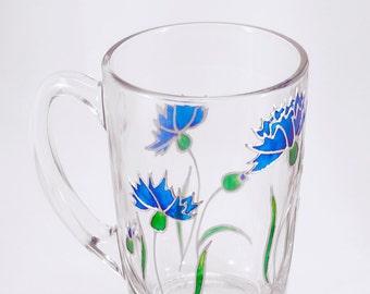Cornflower Mug, Floral Mug, Unique Mug, Cornflower Gift, Mug with Flowers, Hand Painted Mug, Custom Mug, Rustic Mug, Grandma Mug, Floral Cup