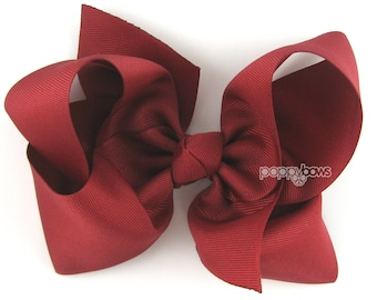 "Extra Large Hair Bow, Cranberry Red Hair Bow, 6"" 6 inch hair bows, big bow, dark red bow, extra large bow, jumbo bows, girls hair bows xl"