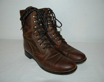 Women Size 10 Vintage Brown Leather Roper Ankle Boots