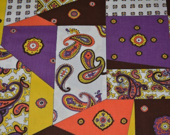 1970s novelty fabric Schwartz Liebman crazy quilt paisley purple patchwork cheater quilt fabric mod orange fabric by the yard