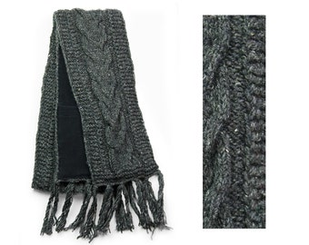 Wool Scarf, Hand Knit Wool Scarf, Winter Scarf - Grey Cable Knit - 2601Y