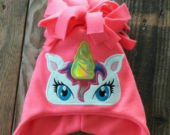 Rainbow Unicorn Fleece Winter Hat MADE TO ORDER
