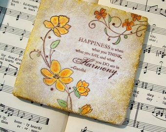 Mahatma Gandhi Coaster Set of 4, Happiness is When What You Think, What You Say, and What You Do are in Harmony, Inspirational Words