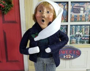 Byers Choice Little Boy Caroler 1990 White Stocking Hat Navy Jacket Gray Pants Cute