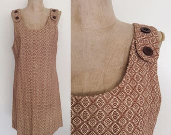 1970's Brown Printed Corduroy Jumper Dress Size Small Medium by Maeberry Vintage