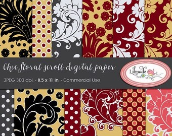 50%OFF Digital paper, floral digital paper, vintage digital paper, floral scroll paper, vintage feather digital paper, DP5