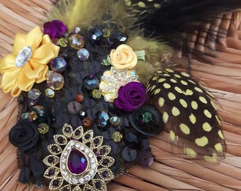 Jaipur Amethyst - ATS or tribal fusion belly dance hair clip | Gatsby flapper art deco  fascinator 1920 party ball (M)