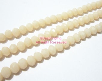 4x3mm Cream color faceted oval crystal beads faceted glass beads BKCB02 - 19.5inch