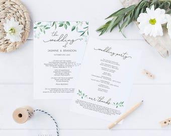 Printable Wedding Program, Wedding Program Template, Greenery Wedding, Ceremony Printable Template, Editable PDF Instant Download #E041