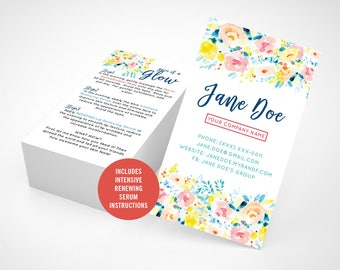 Rodan and Fields Mini Facial Cards, Give It A Glow, Glow Mini Facial Card, Watercolor, Floral, Instructions, Digital, Printable