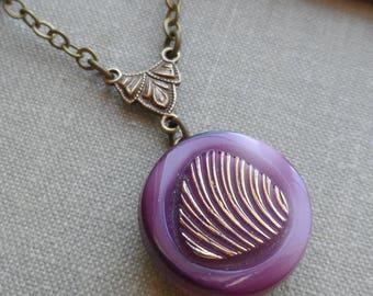 Vintage German Glass Button Necklace, Grape, Purple, Thumbprint, Feather Design