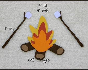 Die Cut Roasting Marshmallows Camp Fire S'mores Premade Paper Piecing for Scrapbook Pages, Cards, Paper Crafts