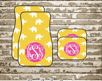 Personalized Car Mats-Kate Spade Inspired-Elephant-Monogrammed Car Accessories  Set-Car Mats-Monogrammed Floor Mats- Custom Car Accessories