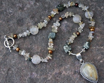 MOTHER EARTH Necklace (Rutilated Quartz, Pyrite, Citrine, Thai Hill Tribe Silver, Rajasthani Silver, Freshwater Pearls)