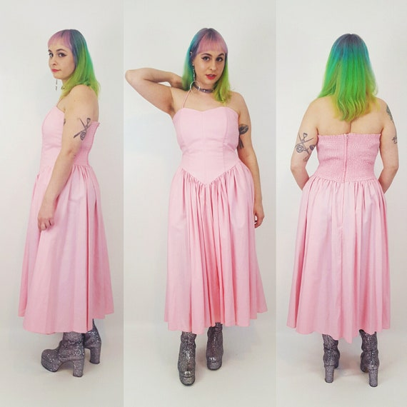 Vintage Deadstock Pink Midi Maxi Prom Dress - Sleeveless Pastel Pink Halter Dress Medium Large - Womens Vtg Special Occasion Party Dress