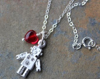 Robot love necklace - tiny matte silver robot and red glass heart charms on sterling silver chain - Free Shipping USA - Mini Sci Fi Fun