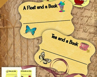 Drinks and a Book Bookplates/Labels Printable Stationary Crafts Scrapbooking Butterflies Original photographs Instant download