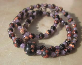 for a kid: Amethyst red Snowflake Obsidian Necklace