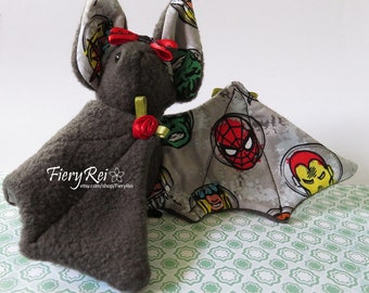 Dark Gray Marvel Bat Plush, Spiderman, SuperHero