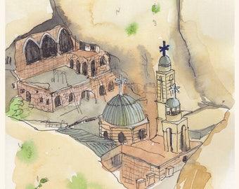 Watercolor - POSTCARD -  Mar Takla monastery-Maaloula-Church watercolor-Syrian church-architectur painting