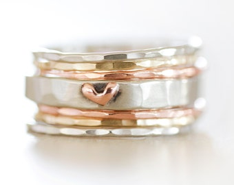 Heart Stacking Rings / Birthday Gift / Stackable Rings / Graduation Gift / Heart / Gift for Her / Girlfriend / Wife Gift / Anniversary Gift