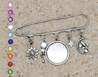 Support cabochon 20 mm silver plated pin brooch, fairy