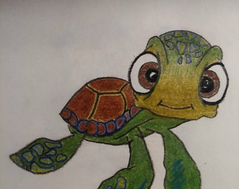 OOAK Original Colored Pencil Drawing of Squirt from Nemo