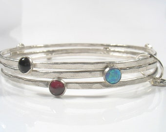 The Colorful  bangles Bracelet - silver bangles with semi-precious stones