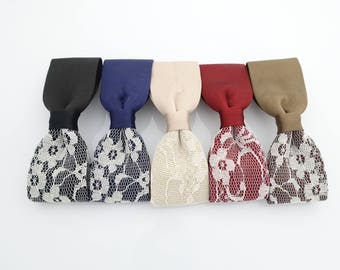 floral lace wrapped satin hair bow french barrette