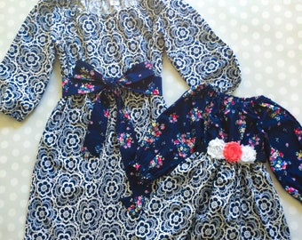 Floral Lace - Navy Mother Daughter Matching Dresses - Matching Dresses - Spring Mommy and Me Dress - Mommy and Me - Mother Daughter Dresses
