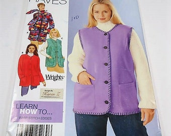 Simplicity Easy To Sew Misses' Jacket, Vest And Scarf Pattern 0677 Size  XS, S, M Must Haves Learn To Whip Stitch