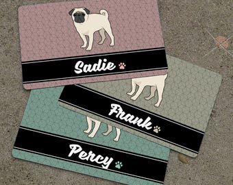 Personalized PUG Placemat - DOG BREED Themed Placemat - Dog Mat - Pet Food Mat - Rubber Placemat