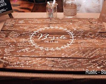 Wedding Guest Book Wood - Guest Book Alternative - Guest Book - Signature Board - Wedding - Laurel Leaf Wedding Guest Book - Medium Size