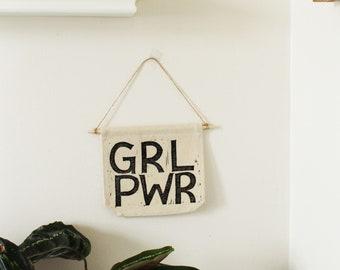 Block Printed Banner, GRL PWR. Girl Power Banner. Feminist decor. Gifts for Women and Girls. Teen bedroom decor. Canvas Banner.