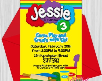 Printable Play Clay Birthday Party Invitation | Personalized
